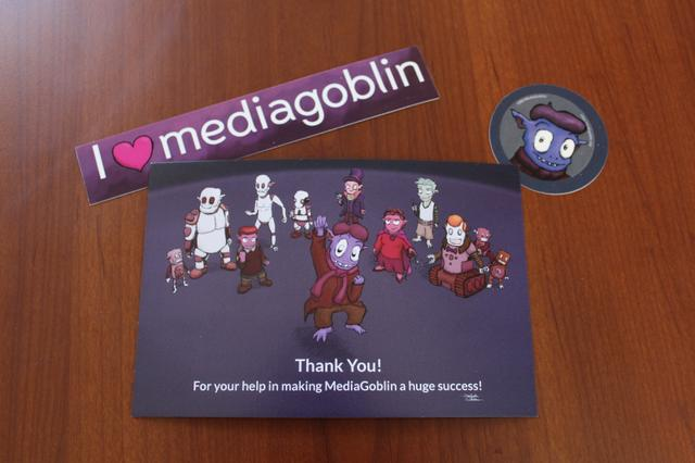 Image for MediaGoblin rewards postcard and stickers